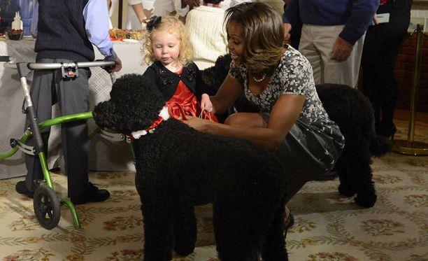 Tilanteen rauhoittuessa pikkutyttö Ashtyn Gardner sai tutustua Sunnyyn ihan rauhassa.