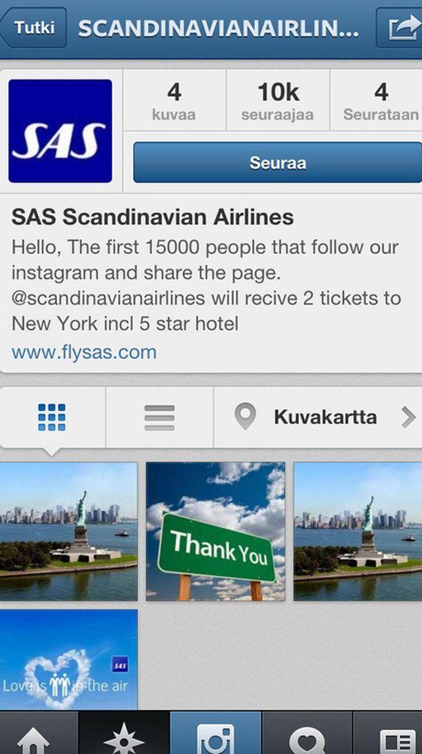 Tuhannet ehtivät luulla tätä SAS:n oikeaksi tiliksi, ennen kuin lentoyhtiö tiedotti huijauksesta.