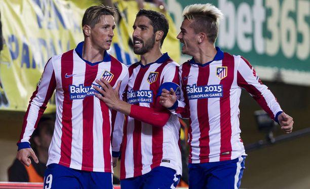 Atléticon Fernando Torres, Jesús Gámez ja Antoine Griezmann nähdään Olympiastadionilla.