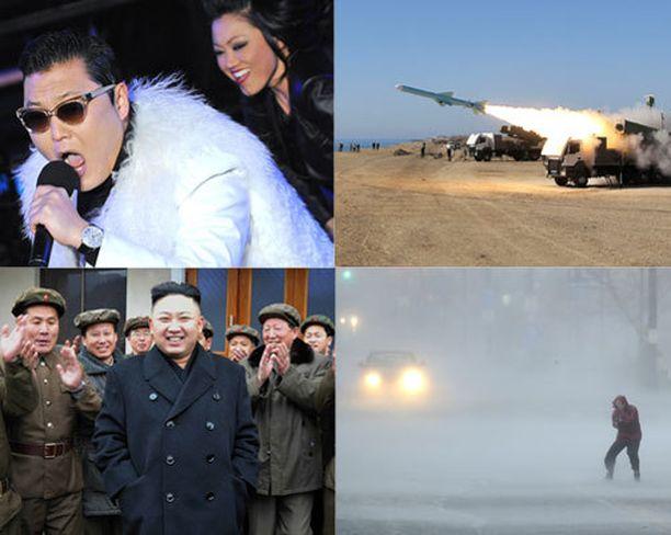 Räppäri Psy, Iranin tempukset (kuvassa ohjuskoe), Pohjois-Korean Kim Jong-un ja hurrikaani Sandy kohosivat otsikoihin vuonna 2012.