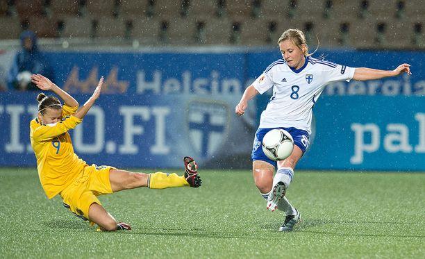 Katri Mattsson pelasi Suomen maajoukkueessa vuosina 1998-2015. Kuva vuodelta 2012.