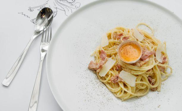 Pasta carbonara on suosittu, muttei kuitenkaan helpoin pasta.