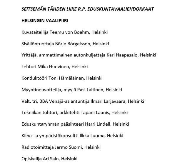 Tähtiliike julkisti maanantaina ensimmäiset eduskuntavaaliehdokkaansa. Mukana oli myös Börje Börgelsson Helsingistä.