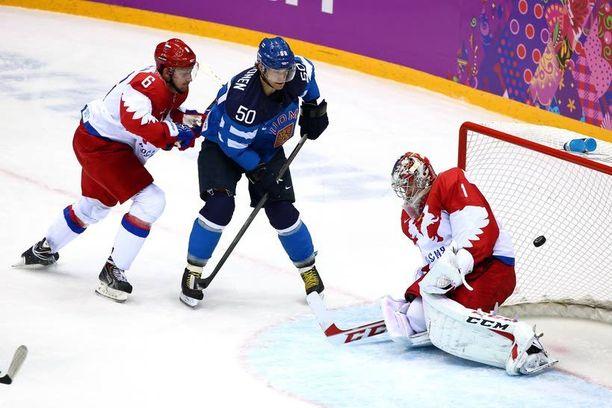 Juhamatti Aaltonen iski Venäjää vastaan olympiapuolivälierässä.