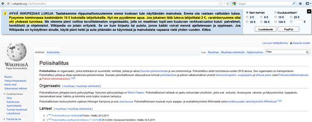 Wikipedian sivuilla kerätään lahjoituksia.