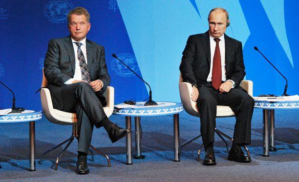 Sauli Niinistö ja Vladimir Putin eivät tällä kertaa keskustelleet kasvotusten. Arkistokuva.
