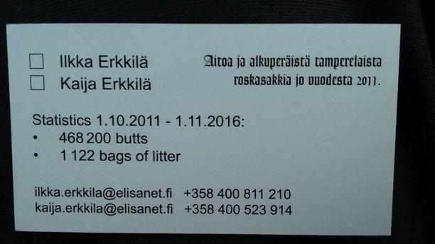 """""""Roskasakki"""" on ehtinyt kerätä tähän mennessä yhteensä 479 100 tupakantumppia ja 1161 muovikassillista roskaa."""
