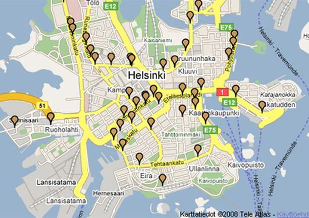 Nopeusvalvontapaikat on merkitty tarkasti karttaan Poliisin verkkosivuilla.