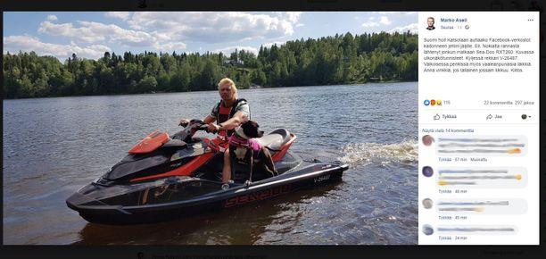 Marko Asell julkaisi Facebook-päivityksen, jossa kertoo, että hänen vesijettinsä on varastettu.