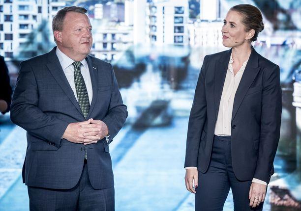 Pääministeri ja Venstre-puolueen johtaja Lars Løkke Rasmussen ja sosiaalidemokraattien johtaja Mette Frederiksen Odensessa ennen televisioitua vaalidebattia.