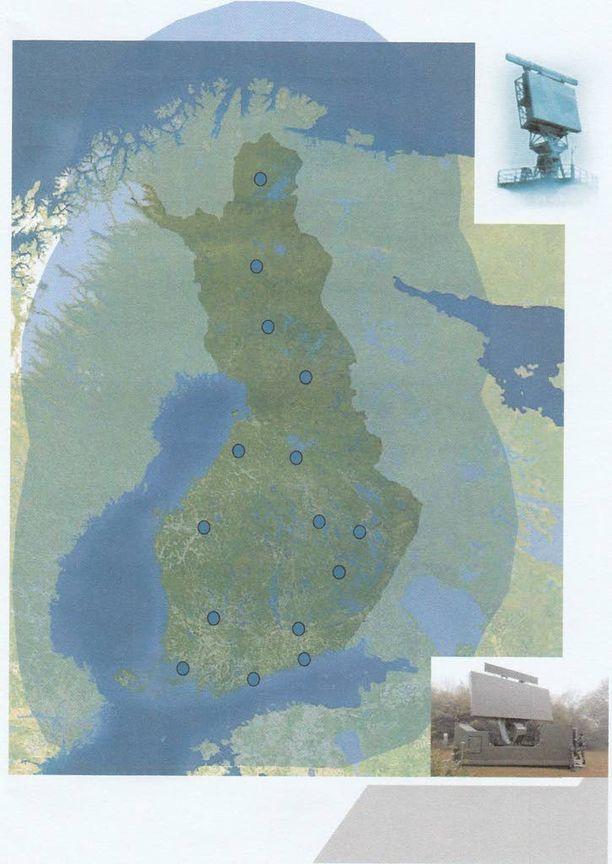 Kuten oheinen kuva osoittaa, Suomen tutkaverkosto on kattava.