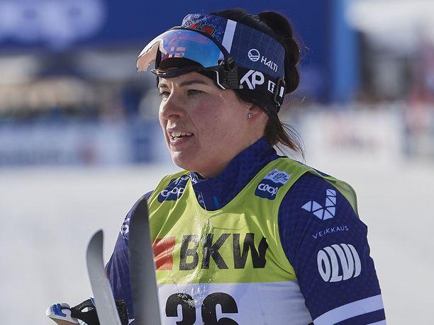 Krista Pärmäkoski (kuvassa) jäi parinsa Katri Lylynperän kanssa finaalin ulkopuolelle parisprintissä.