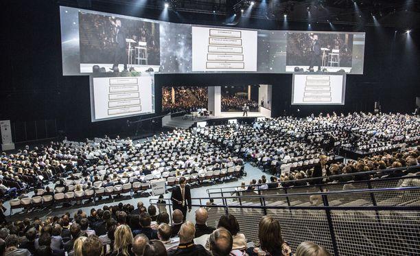 Nordic BUsiness Forum on tuonut Suomeen useita maineikkaita puhujavieraita. Kuva tapahtumasta vuodelta 2015.