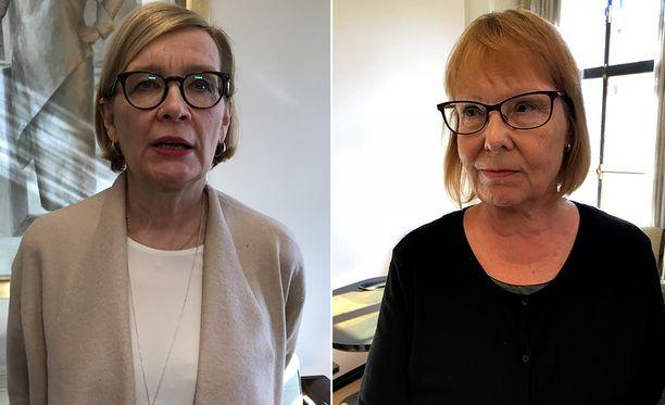 Eduskunnan puhemies Paula Risikko (kok) perustuslakivaliokunnan puheenjohtaja Annika Lapintie (vas) halusi eduskuntaryhmät koolle viime viikolla paljastuneen tietovuodon vuoksi.