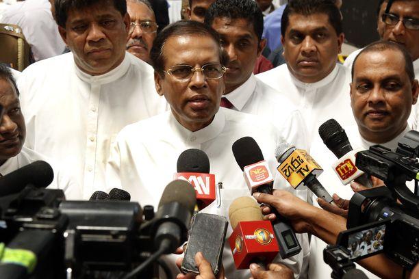 Sri Lankan väistyvä presidentti Maithripala Sirisena puhui medialle 1. huhtikuuta liittyen kokaiinin haltuunottoon.