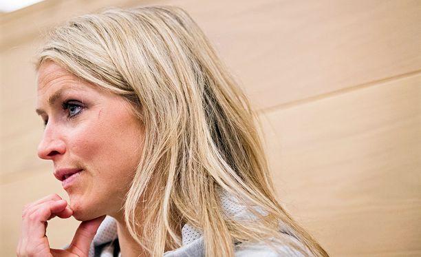 Therese Johaug kertoi kuulumisiaan torstaina järjestetyssä lehdistötilaisuudessa.