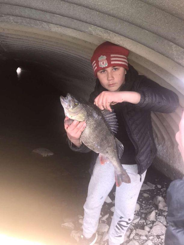 Kalastaja ja saalis.