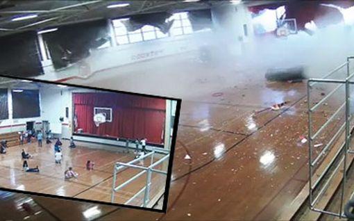 Luonnonvoima tallentui valvontakameraan: myrsky repäisi koulun katon irti kesken oppitunnin Pohjois-Carolinassa