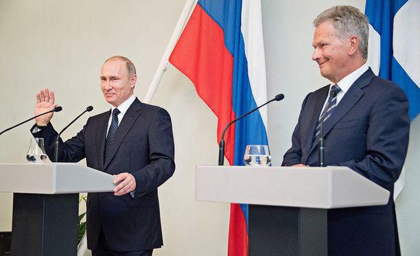 Vladimir Putin ja Sauli Niinistö tapaamisessa Punkaharjulla viime vuonna.