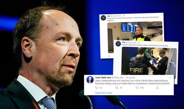 """Jussi Halla-aho kutsui Helsinki-Vantaan lentoaseman viranomaisharjoitusta """"hassuksi yhteensattumaksi"""" vahvistamattomiin tietoihinsa nähden."""