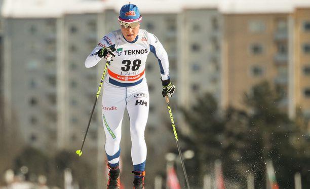 Aino-Kaisa Saarinen vertyi kauden parhaimpaansa Salpausselällä.