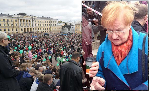 Presidentti Tarja Halonen kertoi vastustavansa eriarvoisuutta, väkivaltaa ja rasismia.