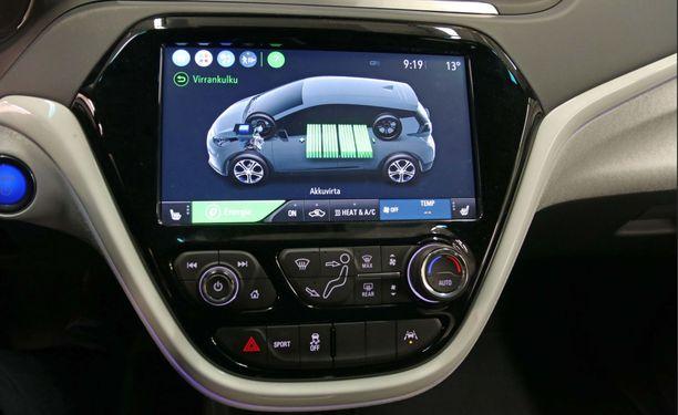 Opel Amperan akut on sijoitettu auton lattian alle.