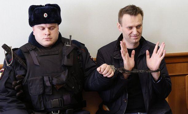 Aleksei Navalnyi oikeudenkäynnissä maaliskuun lopussa.