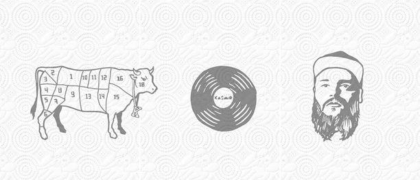Lehmä, vinyyli ja Kasmir itse.