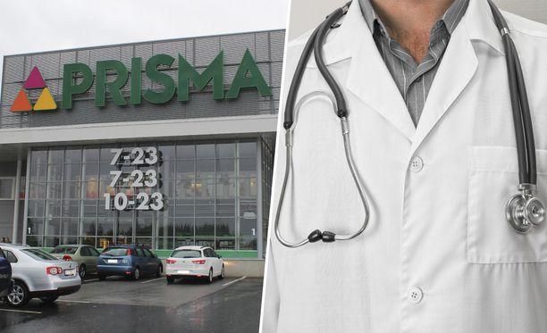 Erikoislääkäri asioi Prismassa. Kuvituskuva.
