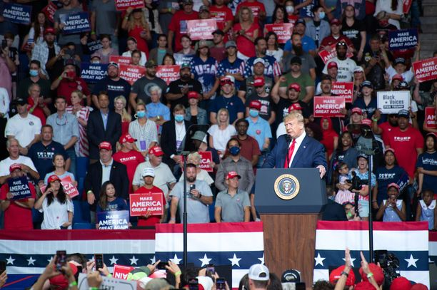 Yhdysvaltain presidentti Donald Trump Tulsassa järjestetyssä kampanjatilaisuudessa 20. kesäkuuta.