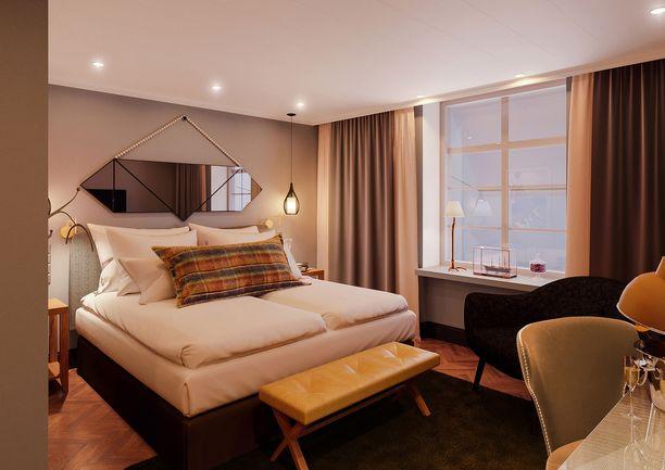 Hotellin sisustuksen on suunnitellut Jaakko Puro.
