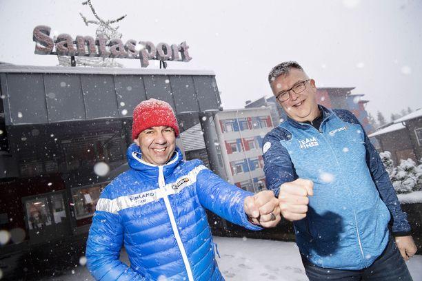 Mika Kulmala (vas.) on Lapin urheiluopiston toimitusjohtaja ja Reijo Jylhä huippu-urheilukoordinaattori.