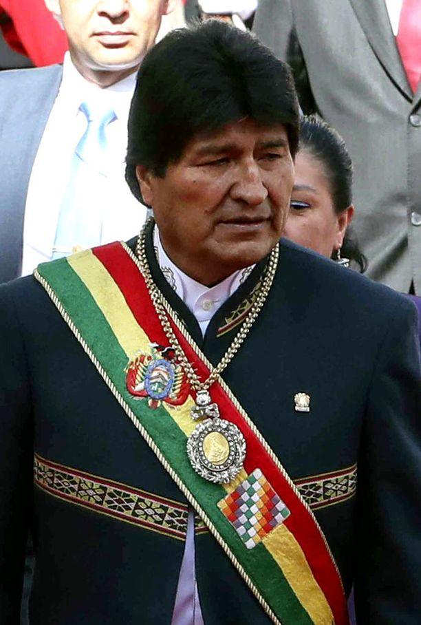 Bolivian presidentti Evo Morales käytti arvomerkkejään vielä tammikuussa, jolloin hän piti puheen presidentin palatsilla La Pazissa.