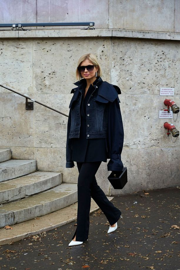 Halkiohousuja on nähty muillakin. Kuvassa muotibloggaaja Xenia Adontsin tyylinäyte.