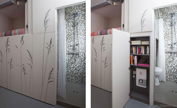 Asunto on käytännössä yhtä kaappia, vain suihku- ja wc-tila sekä tiskipöytä ovat erikseen asunnon perällä.