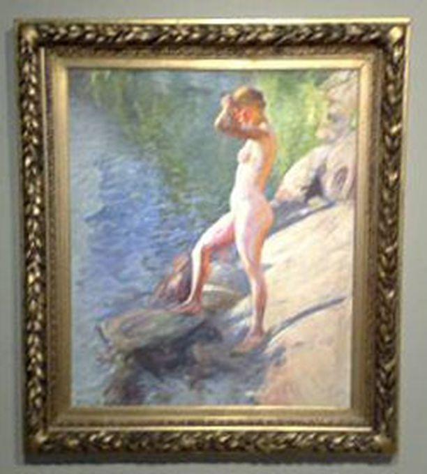 """Mukana on suomalaisia teoksia, joissa näkyy MonetŽn ja muiden impressionistien vaikutus. Kuvassa Pekka Halosen """"Uimaan lähdössä"""" vuodelta 1910."""