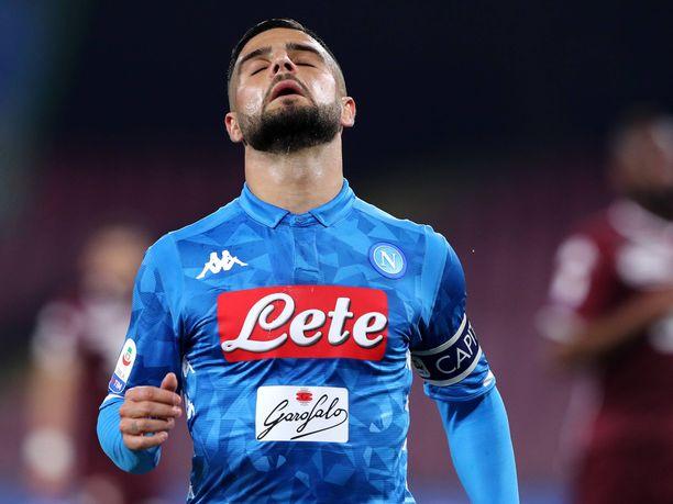 Napoli-kapteeni Lorenzo Insigne tuhlaili maalintekopaikkojaan Torinoa vastaan.