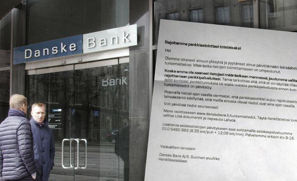 Danske Bank lähettää asiakkaille kirjeen, jos nämä eivät ole reagoineet tietojenpäivityspyyntöön.