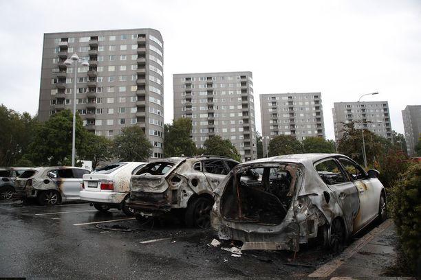 Ruotsin poliisi epäilee autojen joukkopolttoja koordinoiduksi iskuiksi.