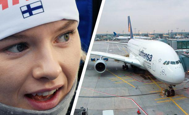 Suomen Venla Lehtonen oli pulassa Frankfurt am Mainin lentoasemalla maanantaina, kun Lufthansa perui urakalla lentoja.