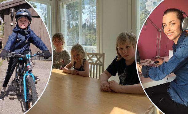 Kuvassa (Vas.-oik.) Patrik Alapiha, 7. Saini, 9,, Eina, 5 vuotta ja Aate, 11, Mattila. Opettaja Mia Vuorenmaa.