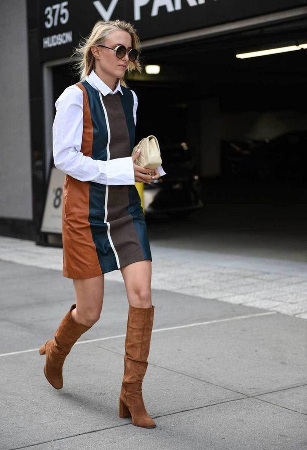 Nyt on se ihana aika, kun voi käyttää nahkasaappaita ilman paksuja sukkahousuja! Pitkähihaisen puseron ja mekon kerrostaminen näyttää taas trendikkäältä.