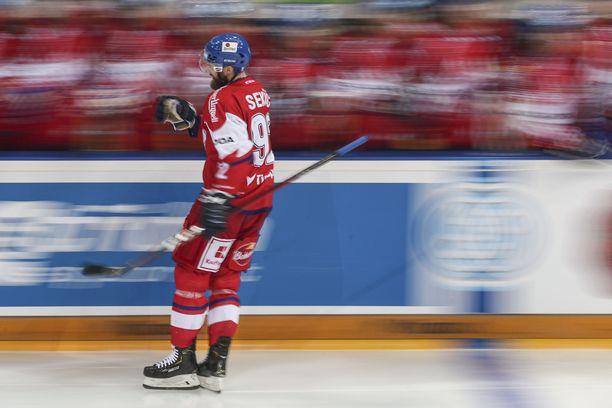 Jiri Sekac juhli maalia EHT-turnauksen ottelussa Venäjää vastaan.