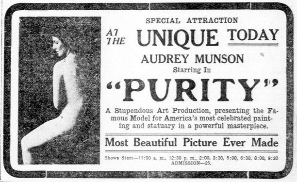 Audreyn rooli Purity-elokuvassa oli pornon ulkopuolella ensimmäinen kerta, kun valkokankaalla nähtiin alaston nainen.