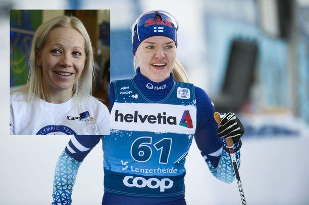 Kaisa Mäkäräinen (vas.) oli seuraamassa Vilma Nissisen ja muiden Suomen hiihtonaisten suorituksia viime viikolla Tour de Skillä.