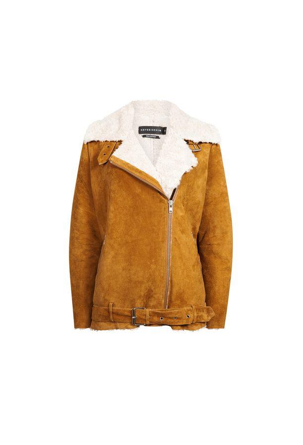 Löytö! Bikbokin Never Denim -malliston mokkanahkainen Billy-takki, 204,95 e
