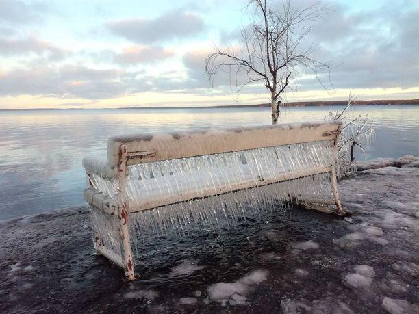 Tamperelainen jäähypenkki ihmetyttää katsojia.