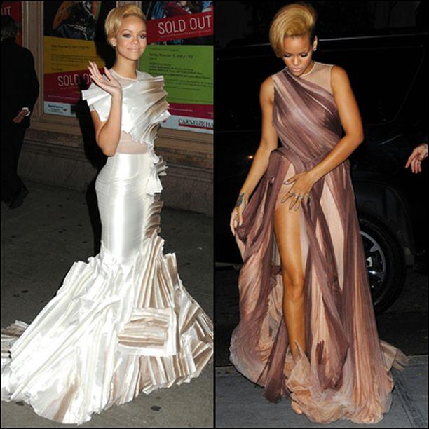 Rihannan iltapukuvalikoimaan kuuluivat tällä kertaa näyttävän moderni, mutta hääpukumainen mekko, sekä luumun eri sävyissä hehkunut harsoluomus. Asusteiksi riitti tutulle töyhdölle lakattu tukka ja tatuoinnit.