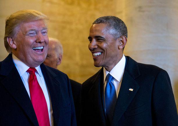 Donald Trump ja Barack Obama presidentin virkaanastujaispäivänä Washingtonissa tammikuun 20. päivä.